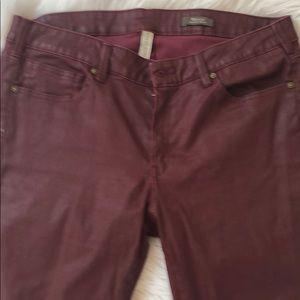 EUC Metallic Burgundy Slim Jeans.